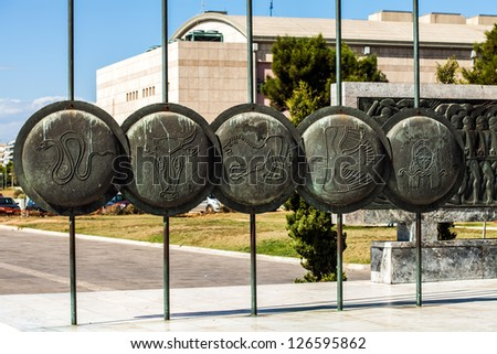 Alexander the Great, Spears of his soldiers, Thessaloniki, Greece - stock photo