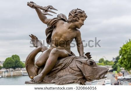 Alexandre III bridge in Paris - stock photo
