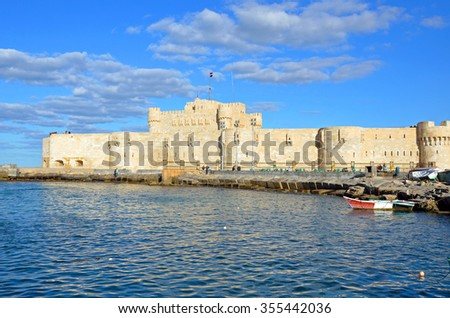ALEXANDRIA, EGYPT - DECEMBER 6 2015: Qaitbay Citadel is a defensive fortress located on the Mediterranean sea coast,that was established in 1477 by Sultan Qaitbay.