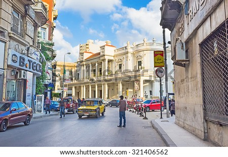 ALEXANDRIA, EGYPT - OCTOBER 11, 2014: The street leads to the former Mohamed Aly Club, now known as Alexandria Center for Arts, on October 11 in Alexandria.