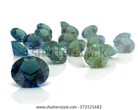 alexandrite on white background. High quality 3d render - stock photo