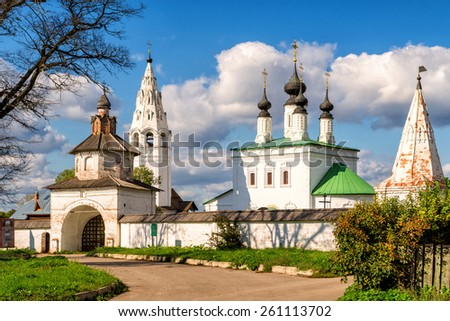 Alexandrovsky monastery in Suzdal, Golden Ring of Russia - stock photo