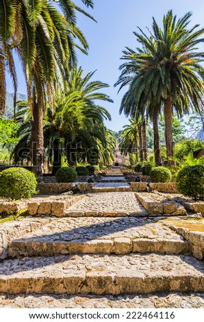 Alfabia gardens in Mallorca - stock photo