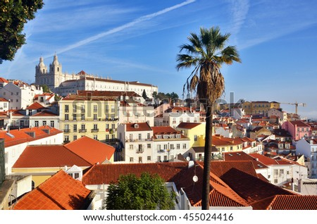 Alfama, historic district in Lisbon, Portugal. Touristic destination