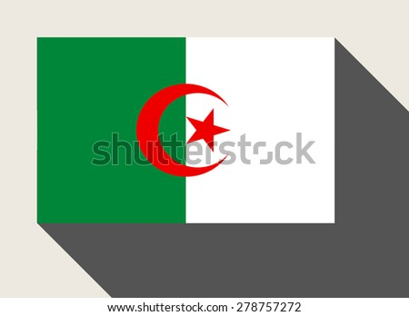 Algeria flag in flat web design style. - stock photo