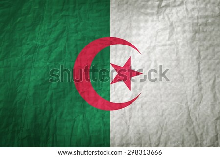 Algeria flag painted on a Fabric creases,retro vintage style