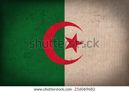 Algeria flag pattern on the fabric texture ,retro vintage style