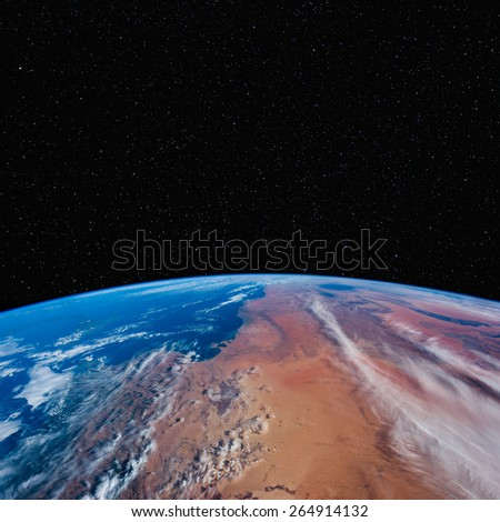 Algeria, Tunisia & Libya from space with stars above. Elements of this image furnished by NASA.  - stock photo