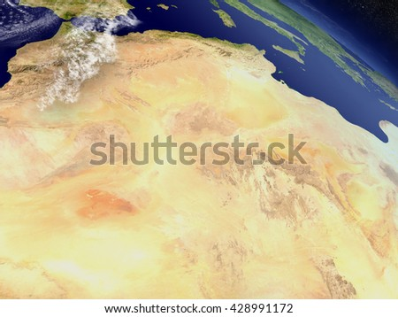 Algeria with surrounding region as seen from Earth's orbit in space. 3D illustration with highly detailed planet surface and clouds in the atmosphere. Elements of this image furnished by NASA. - stock photo