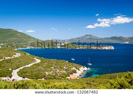 Alghero bay on the way to the Neptune cave at Sardinia, Italy - stock photo