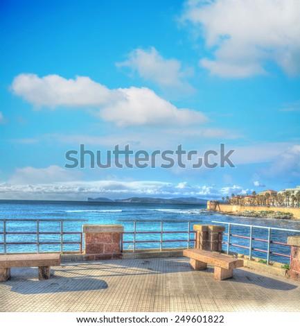 Alghero coastline seen from the promenade. Shot in Sardinia, Italy - stock photo