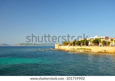 Alghero view from the Mediterranean Sea. Sardinia, Italy - stock photo