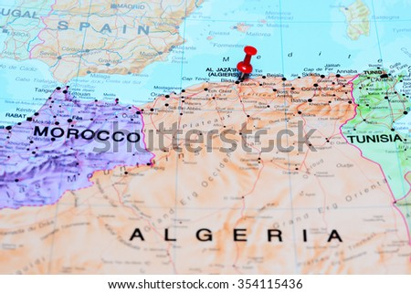 Algiers pinned on a map of Africa  - stock photo