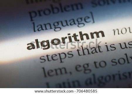 Algorithm word in a dictionary. Algorithm concept