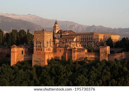 Alhambra during sunset, Granada, Spain - stock photo