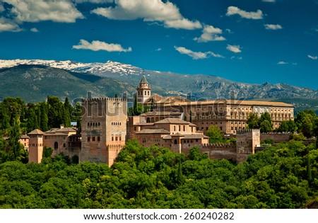 Alhambra fortress in Granada, Spain - stock photo
