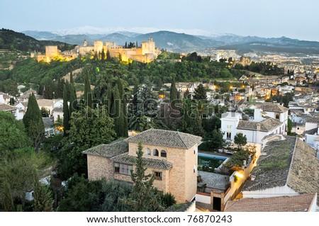 Alhambra, Granada and Sierra Nevada - stock photo
