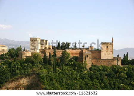 Alhambra palace, Granada, Spain, in the late afternoon - stock photo