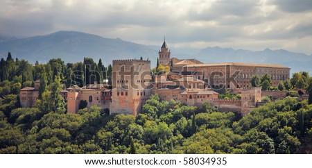 Alhambra palace in Granada, Spain. - stock photo