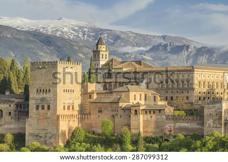 alhambra palace in spain - stock photo