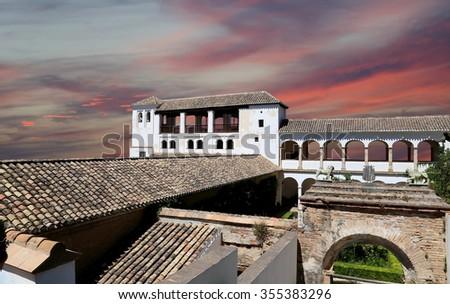 Alhambra Palace - medieval moorish castle in Granada, Andalusia, Spain   - stock photo