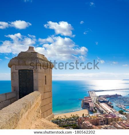 Alicante Postiguet beach view from Santa Barbara Castle of Spain - stock photo
