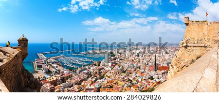 Alicante Santa Barbara castle with panoramic aerial view at the famous touristic city in Costa Blanca, Spain - stock photo