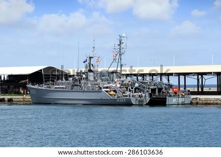 ALICANTE, SPAIN - JUNE 03: Turkish minesweeper vessel docked in the port of Alicante; Spain; on june 03, 2015 in Alicante. - stock photo