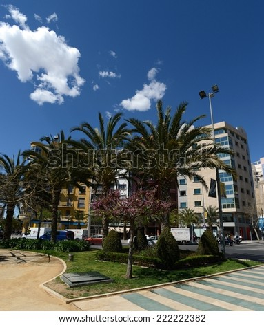 ALICANTE, SPAIN - MARCH 27, 2014: Alicante the city in the Valensiysky Autonomous Region, the capital of the Province of Alicante. It is located on the bank of the Mediterranean Sea. City landscape.