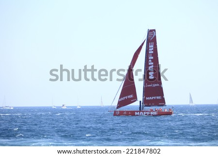 "ALICANTE, SPAIN - OCTOBER 4: MAPFRE Team boat competing in the In-Port Race, during the ""Volvo Ocean Race 2014-2015"", on October 4, 2014 in Alicante, Spain."