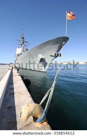 ALICANTE, SPAIN - SEPTEMBER 19: Frigate F-104 MENDEZ NUÃ?EZ of the Spanish Navy docked in the port of Alicante in the Mediterranean Sea, on September 19, 2015 in Alicante. - stock photo