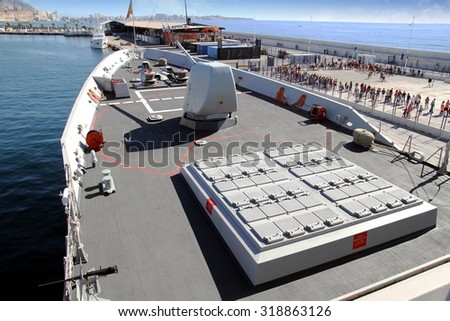 ALICANTE, SPAIN - SEPTEMBER 19: The Mark 41 Vertical Launching Missile System on the Frigate F-104 MENDEZ NUÃ?EZ of the Spanish Navy docked in the port of Alicante, on September 19, 2015 in Alicante. - stock photo