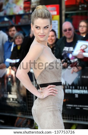 Alice Eve arriving for the UK premiere of 'Star Trek Into Darkness' at The Empire Cinema, London. 02/05/2013 - stock photo