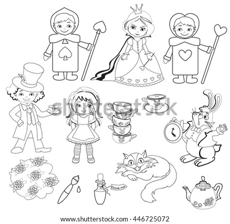 Alice in Wonderland. Set of characters. Coloring page. Raster copy. - stock photo