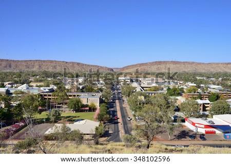 ALICE SPRINGS, AUSTRALIA - 21 SEPTEMBER 2015: Aeriel view over the outback town of Alice Springs in Central Australia. - stock photo