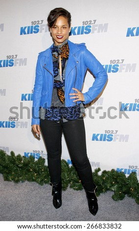 Alicia Keys at the KIIS FM's Jingle Ball 2012 held at the Nokia Theatre LA Live in Los Angeles on December 1, 2012.  - stock photo