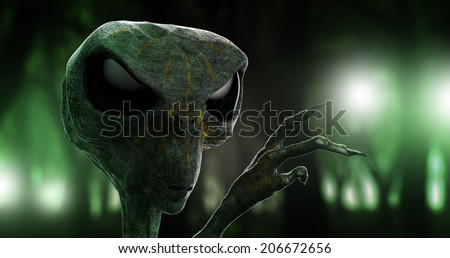 Alien and the forrest lights - stock photo