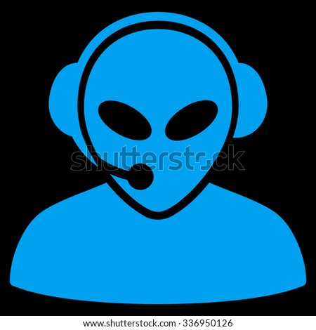 Alien Call Center raster icon. Style is flat blue symbol, rounded angles, black background.