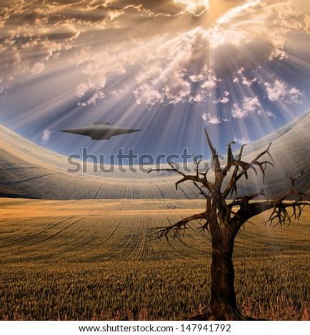 Alien craft in landscape - stock photo