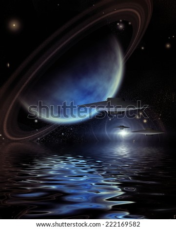 Alien Craft over Alien Sea - stock photo