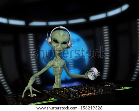 Alien DJ - An alien DJ wearing wireless headphones holding a CD. Turntables and mixers.  Holograph shows the alien approaching the Earth. Blurred background. - stock photo
