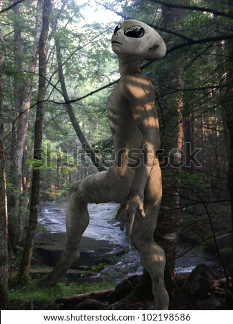 Alien exploring the Earth woods - stock photo