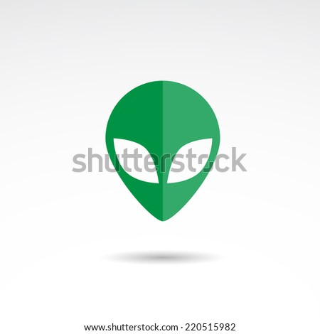 Alien face flat  icon isolated on white background. - stock photo