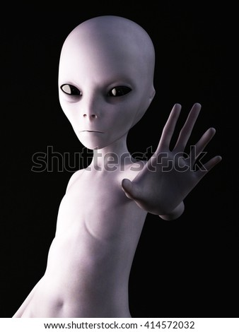 Alien holding its hand up like it's greeting you. 3D rendering. Black background. - stock photo