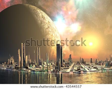 Alien Island Cities - stock photo