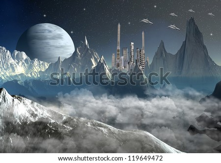 Alien Landscape With Mountains and A City - stock photo