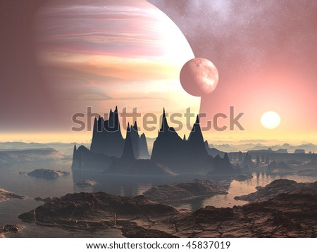 Alien Landscape with Twin Moons - stock photo