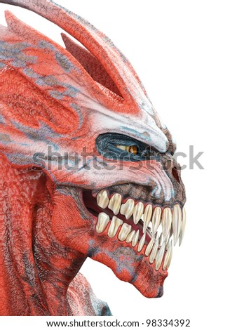 alien monster photo id side view - stock photo