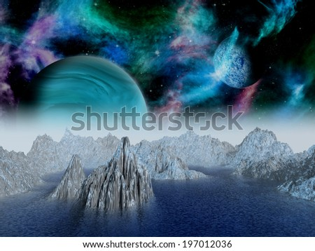 Alien moon rises over a distant planet. - stock photo