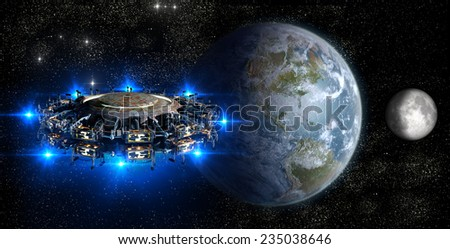 Alien mother-ship UFO nearing Earth, with the Moon rising for futuristic, space fantasy or interstellar travel cover images or backgrounds. Elements of this image furnished by NASA - stock photo